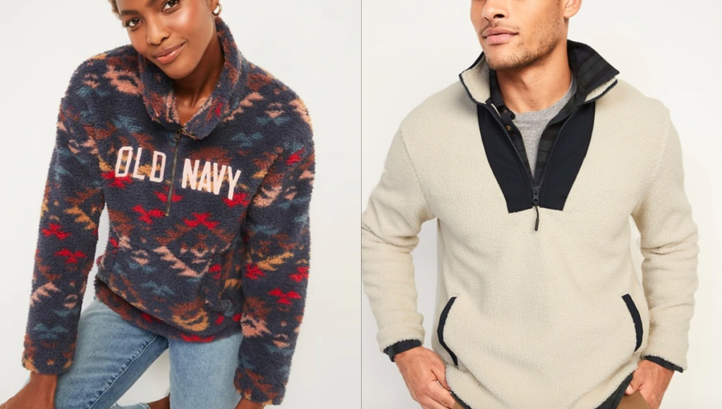 cozy sherpa pullovers on man and woman