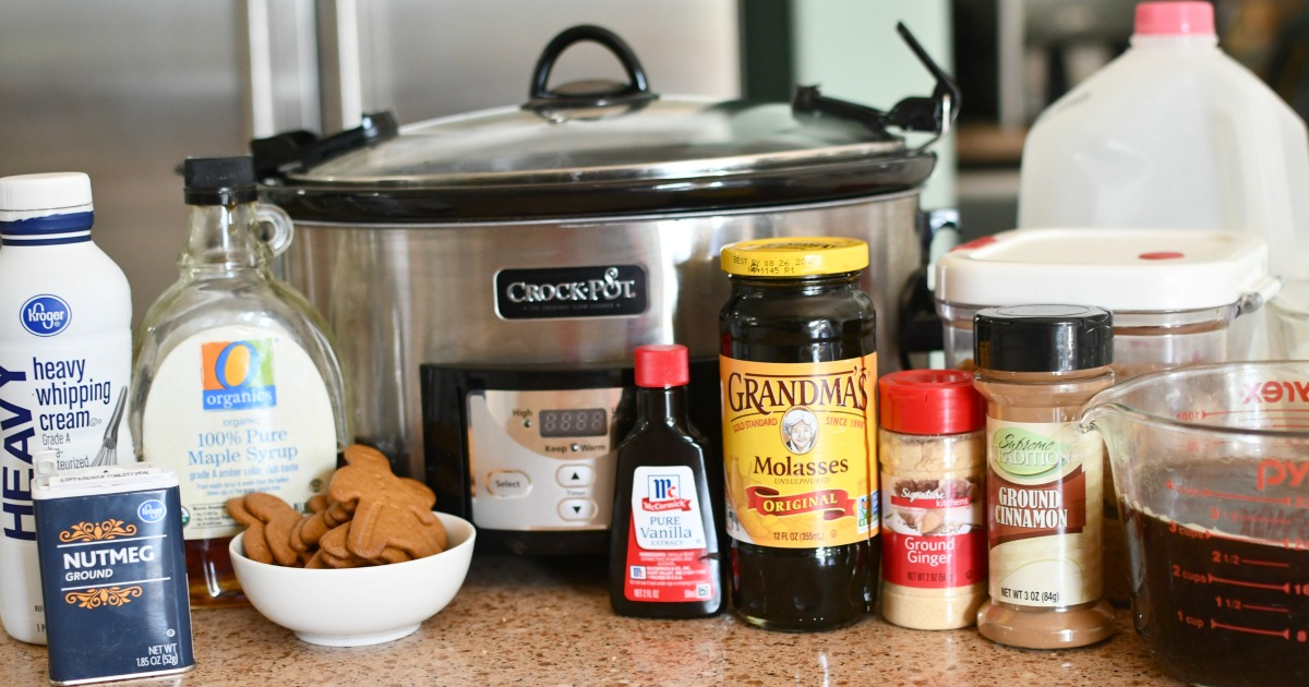 crockpot with gingerbread latte ingredients
