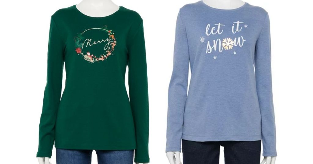 green merry tee and blue let it snow tee