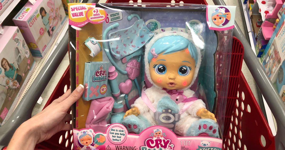 cry babies kristal gets sick doll in box in target shopping cart