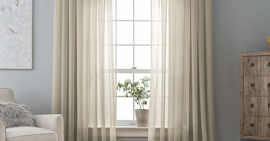 curtains on sunny window in living space