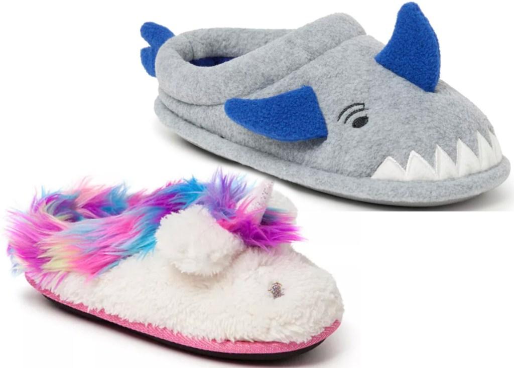dearfoams kids unicorn and shark slippers