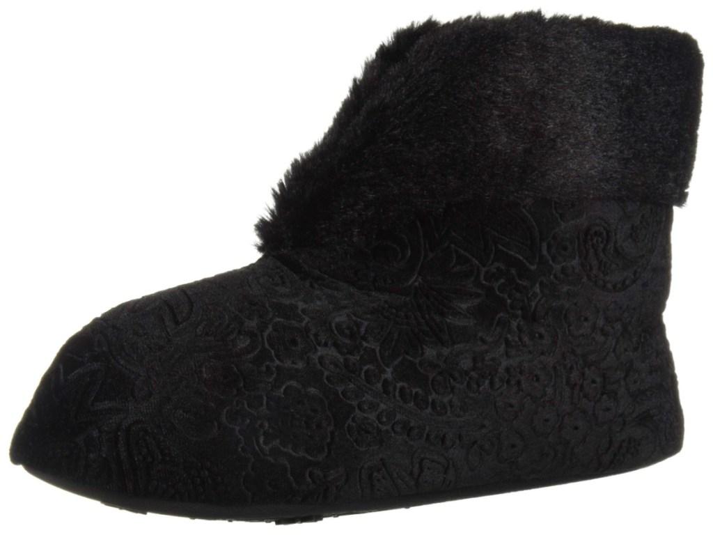 dearfoams womens velour bootie slippers black