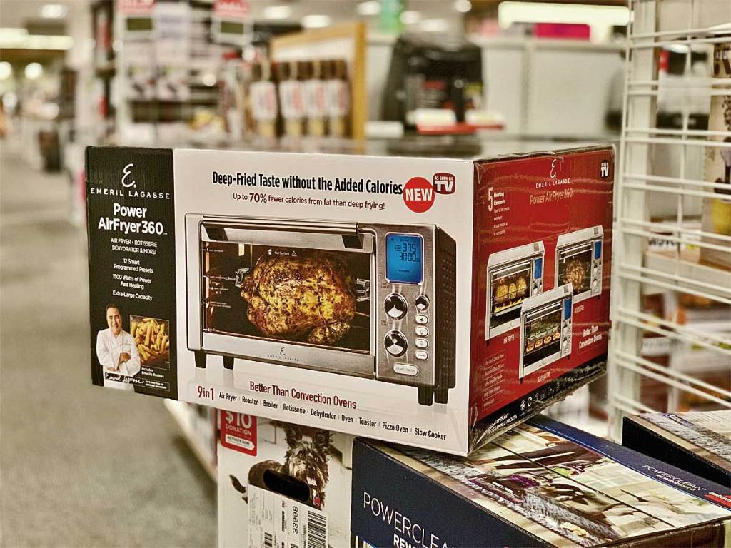 power airfryer 360 on a box in a store
