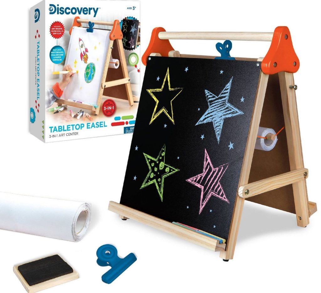 discovery kids easel with chalk and dry erase