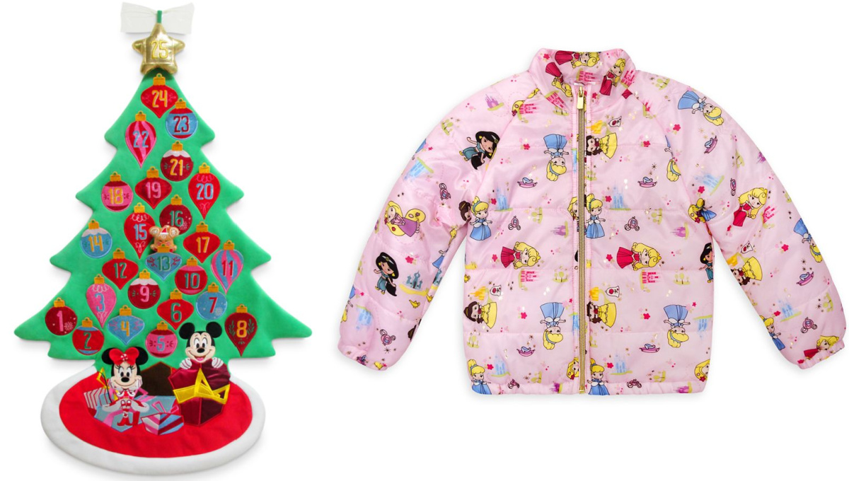 Disney advent Christmas tree and pink princess coat