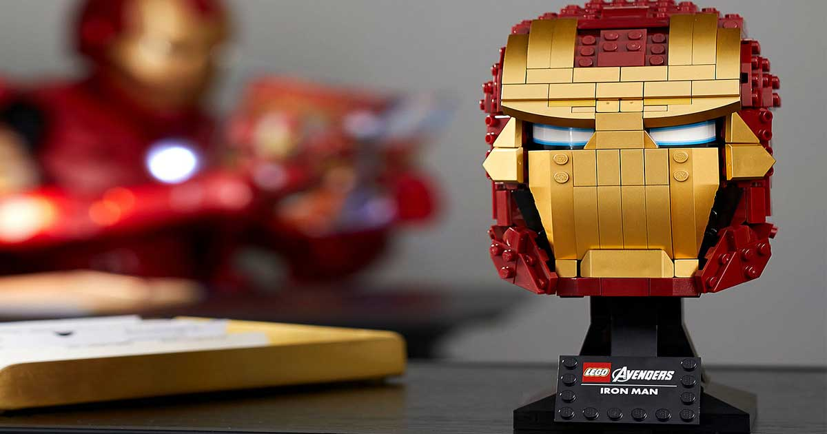 iron man LEGO helmet on display with iron man in the background