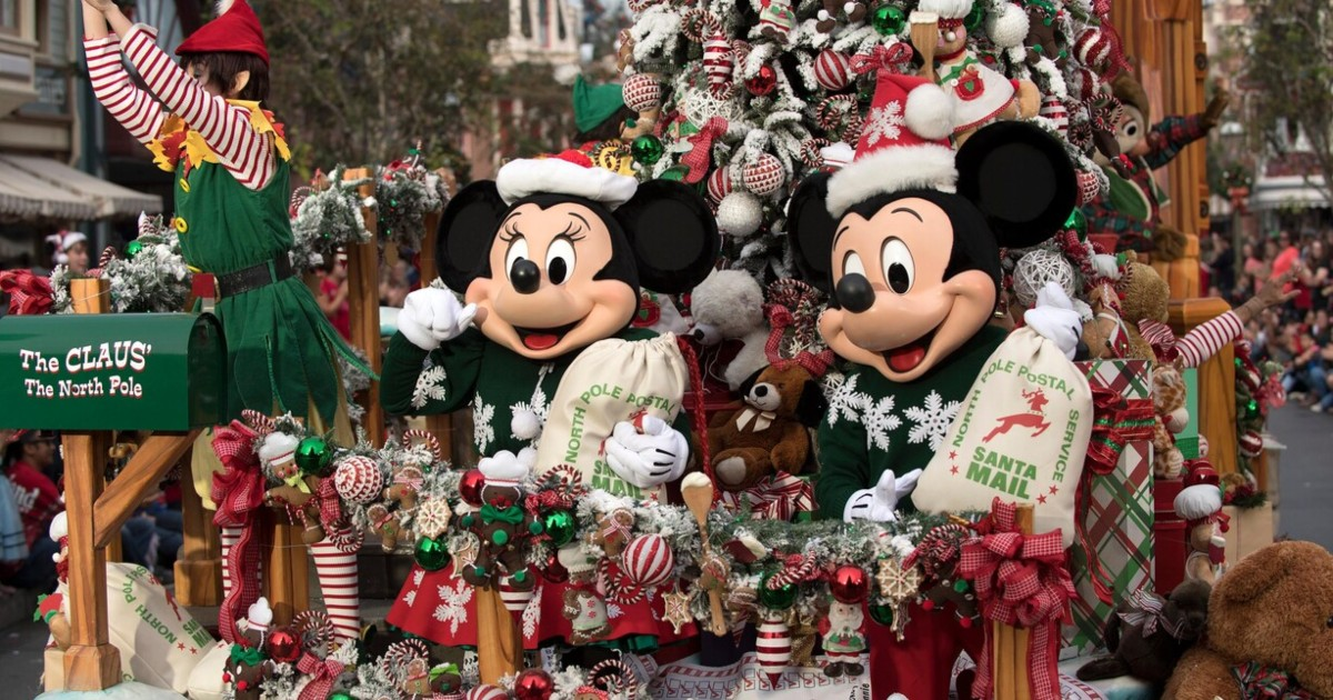 Mickey and Minnie Mouse celebrating Christmas