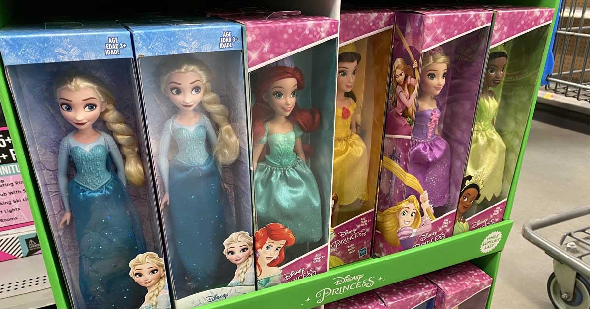 disney dolls on display in store
