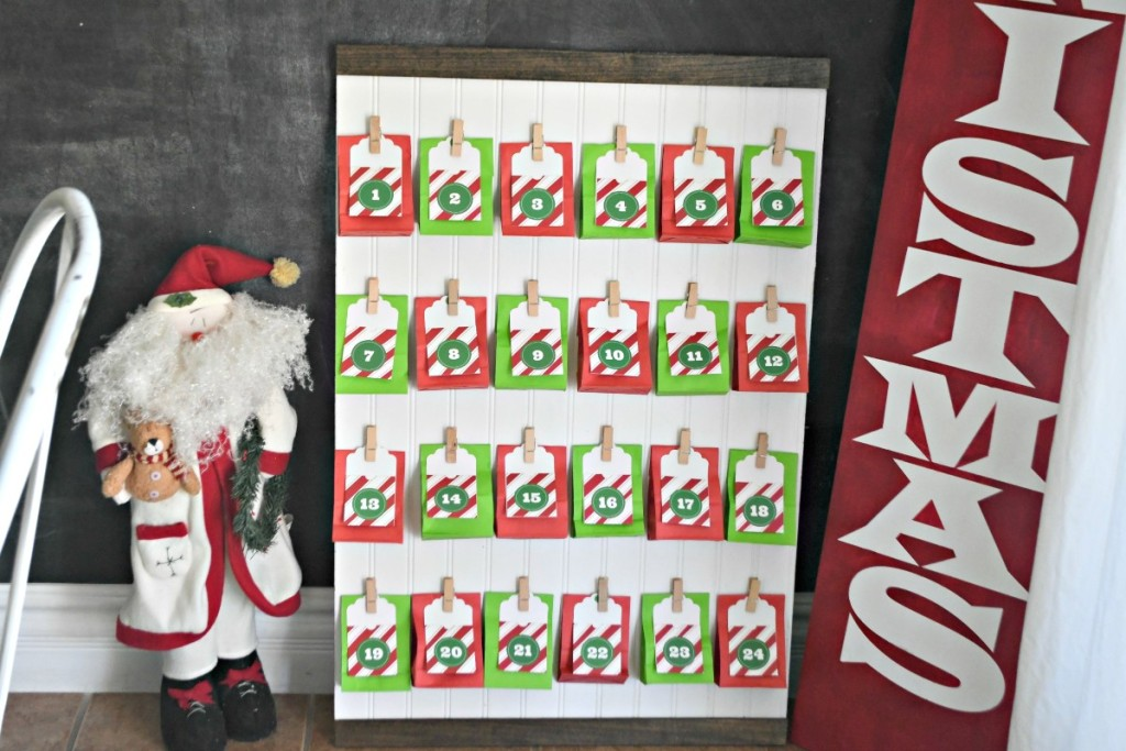 DIY Advent Calendar with hanging goody bags