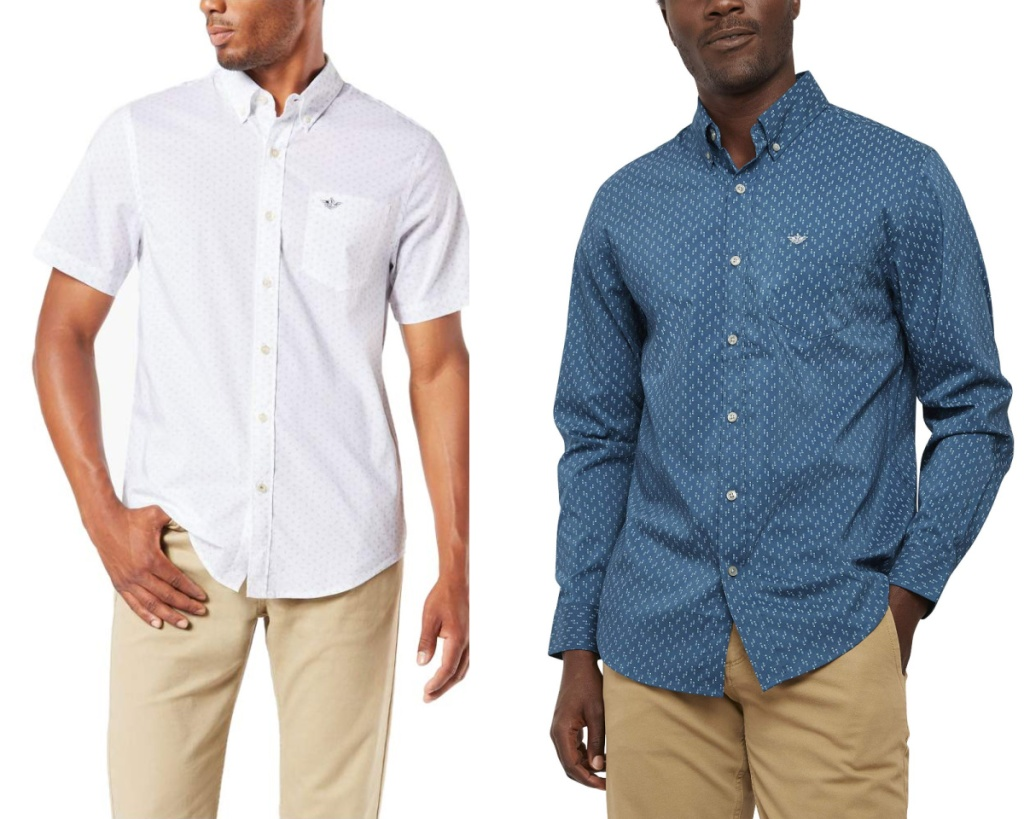 dockers mens shirts white and blue
