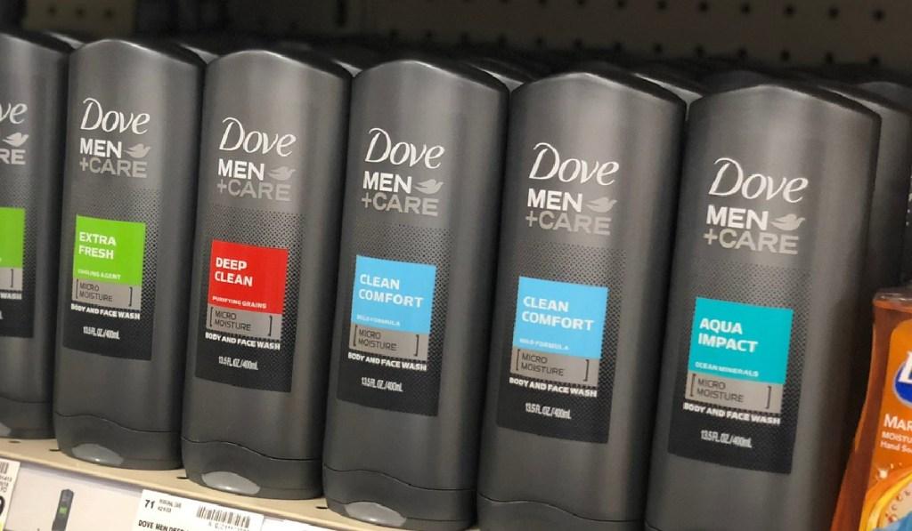 dove men+ care bottles in store on shelf