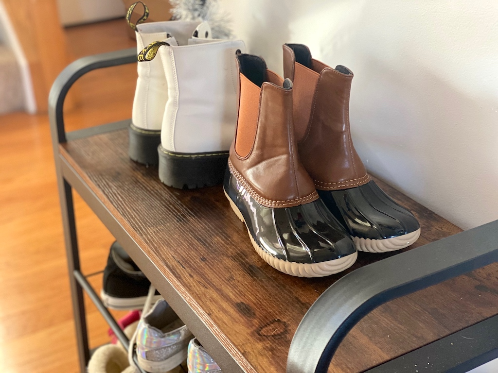 duck boots on shoe rack