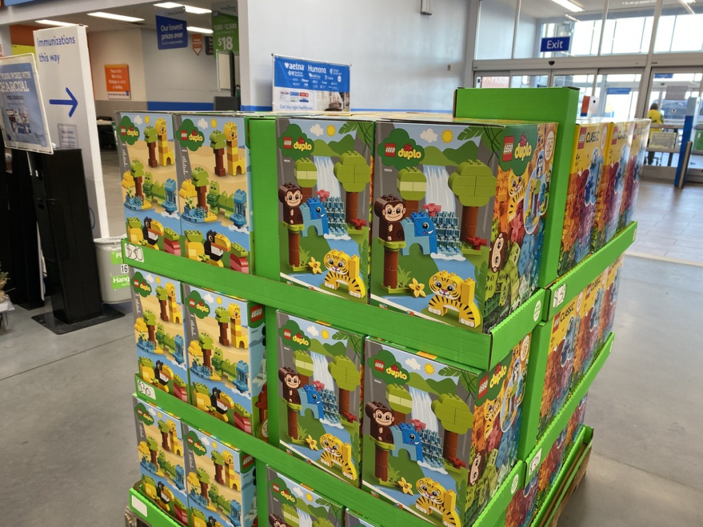 store display with boxes of duplos