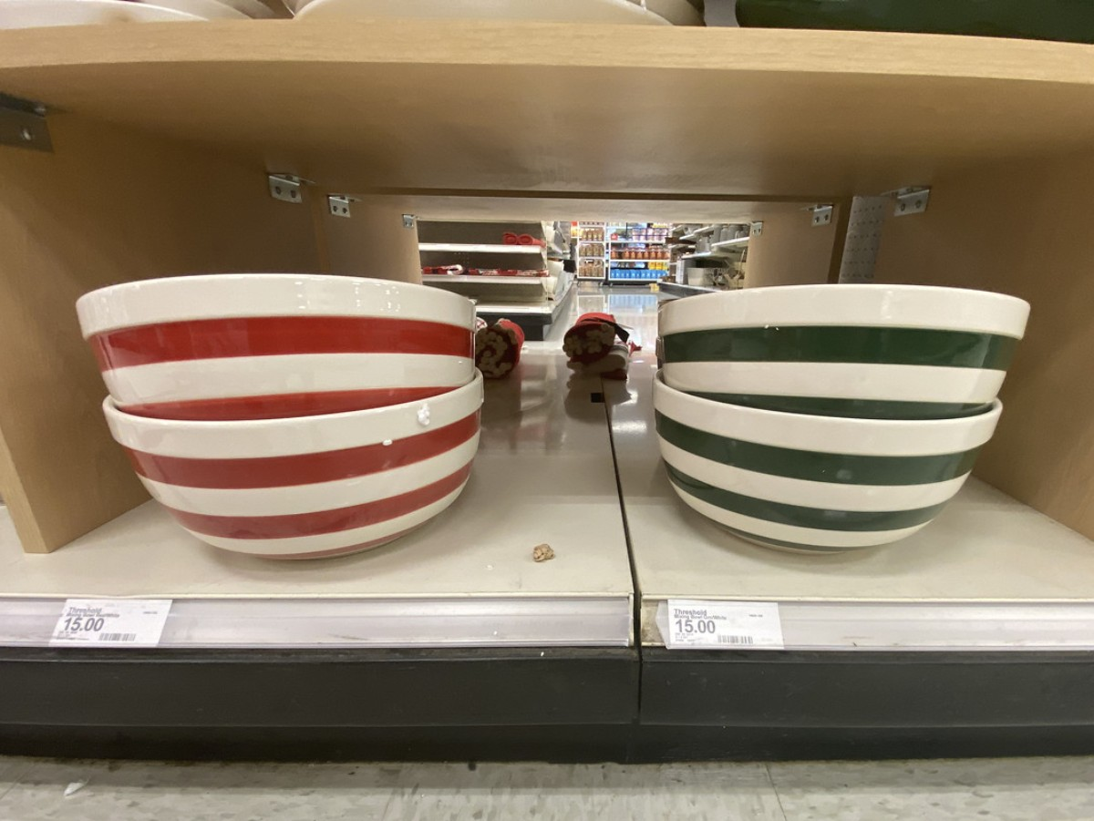 red and green striped bowls
