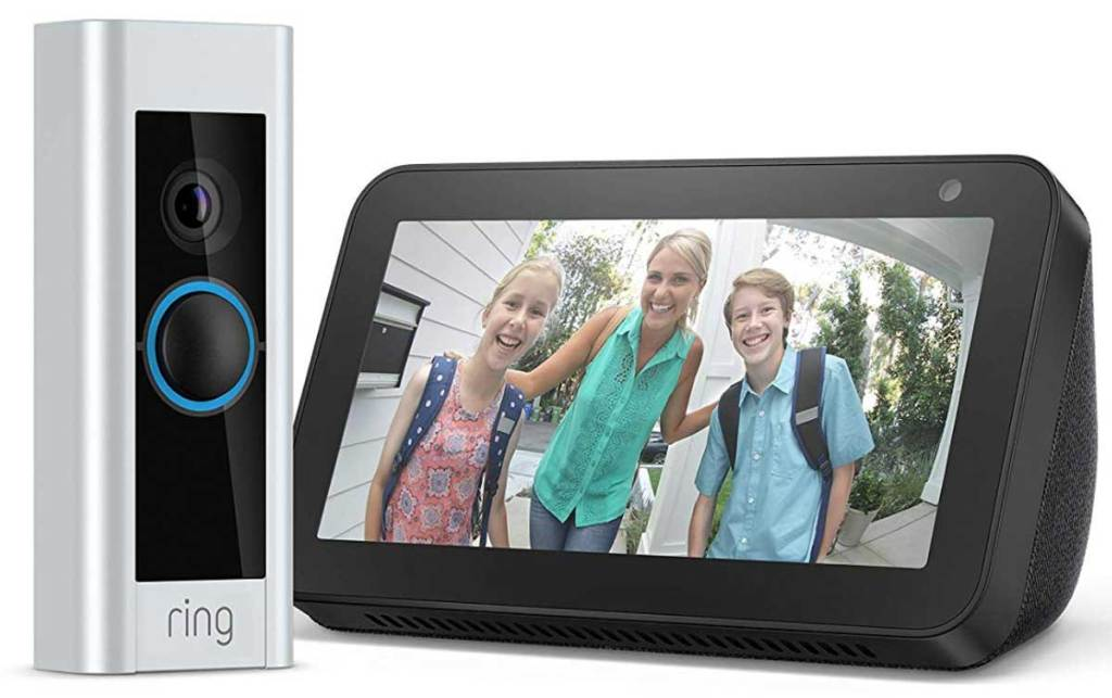 ring doorbell and echo 5 stock image
