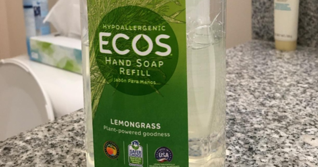 ecos hand soap in bathroom