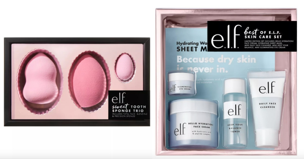 elf beauty gift sets sponges and skin care
