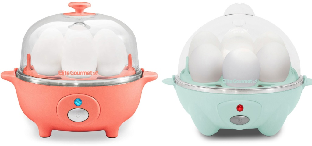 elite gourmet egg cookers in mint or coral