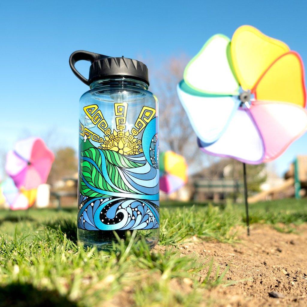 Epic Nalgene Special Edition bottle sitting in grass
