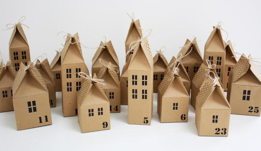 cardboard advent calendar houses from Etsy