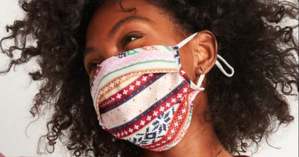 woman wearing Old Navy reusable face mask