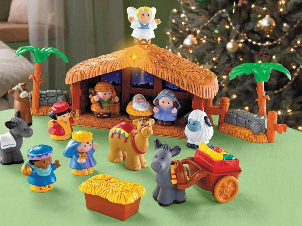 child's nativity scene with little people