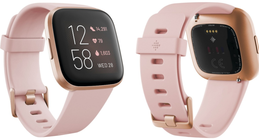 fitbit versa in rose front and back view