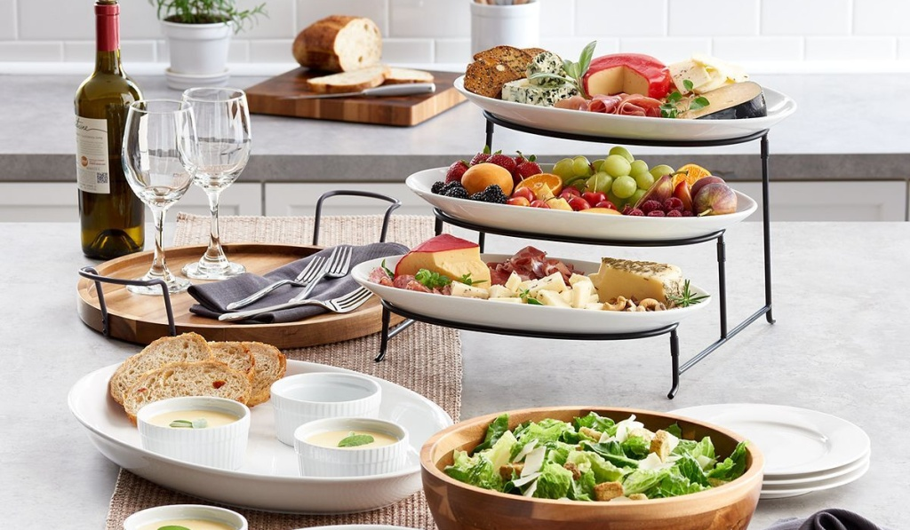 food network 3-tier server with full food spread