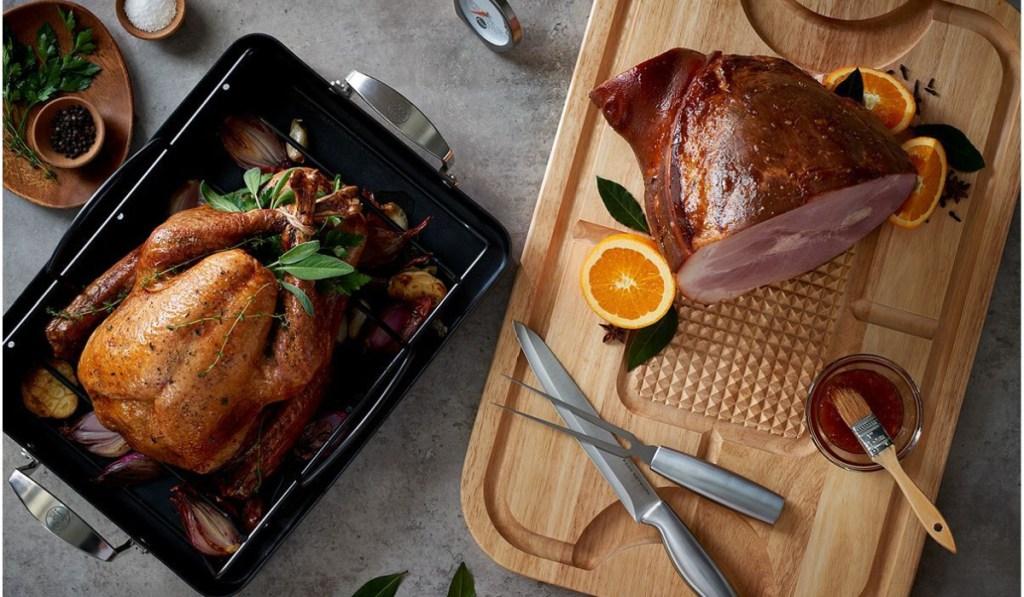 food network roaster with turkey in it