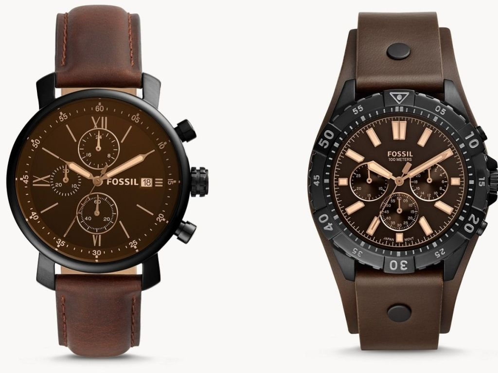 brown fossil watches