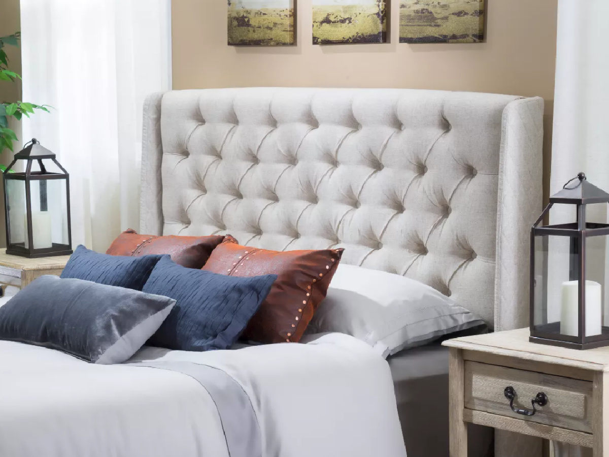 off white tufted headboard at target