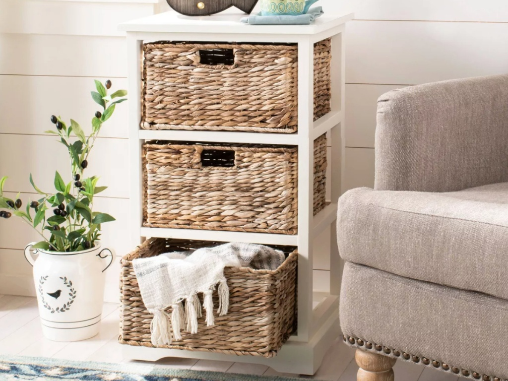 white wicker 3 drawer side table