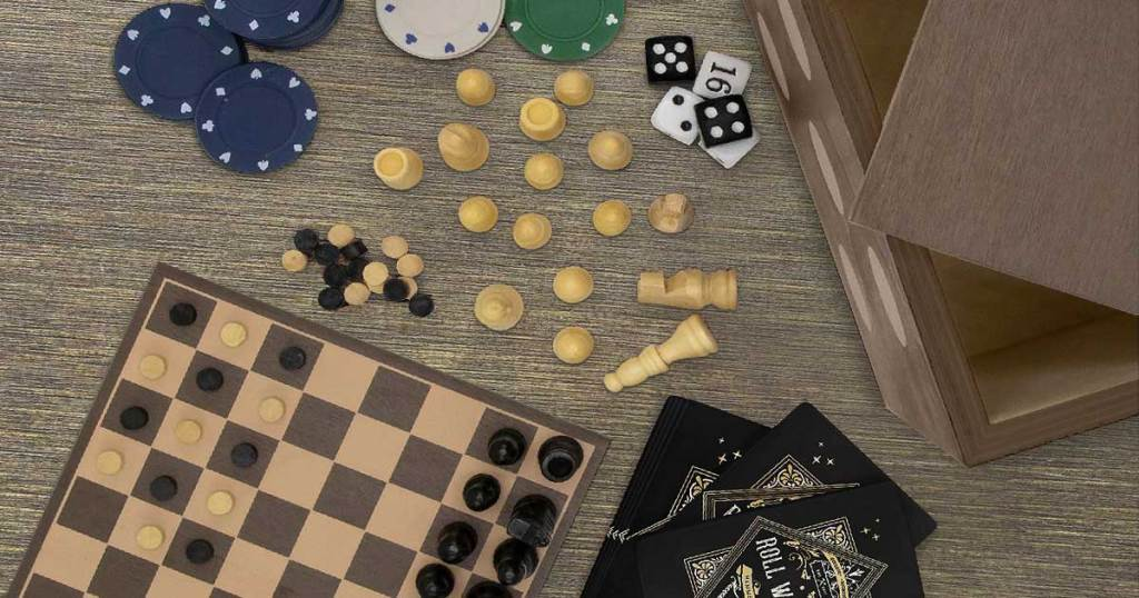 overhead view of games on a table