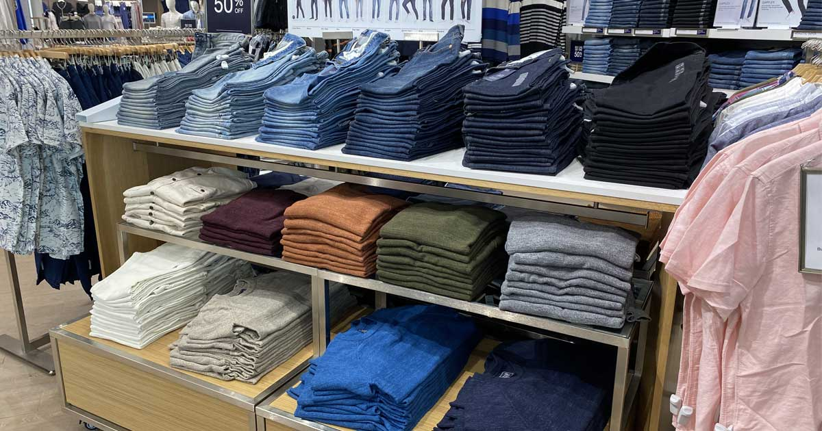 men's clothing on display in a store