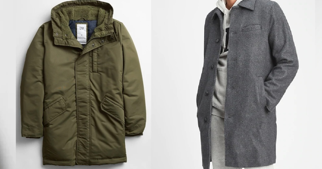 green puffer jacket and gray top coat