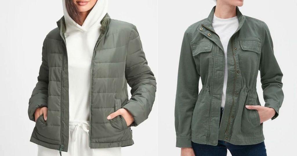 women wearing green jackets