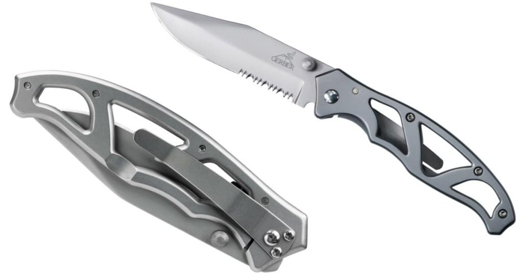 gerber pocket knife folded and unfolded