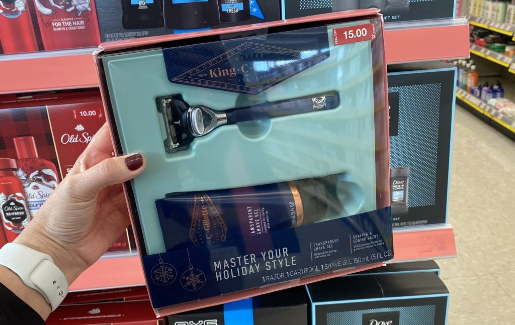 gilette gift set in hand in store