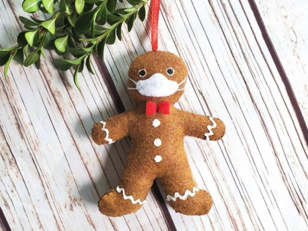 masked gingerbread man ornament