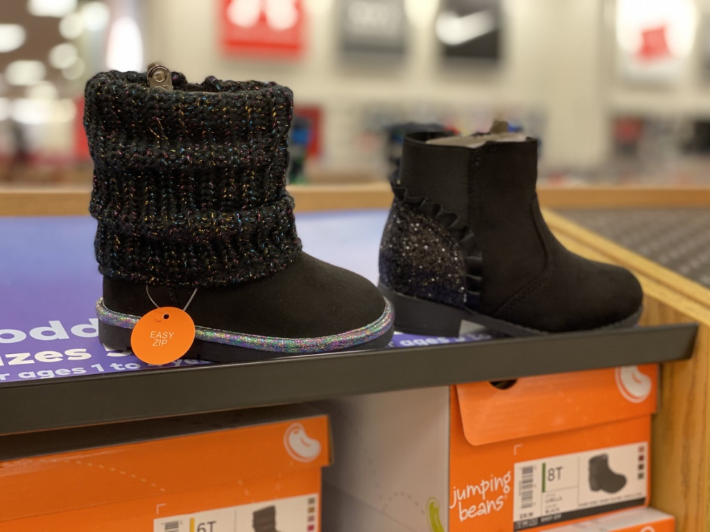 kids boots on display in store