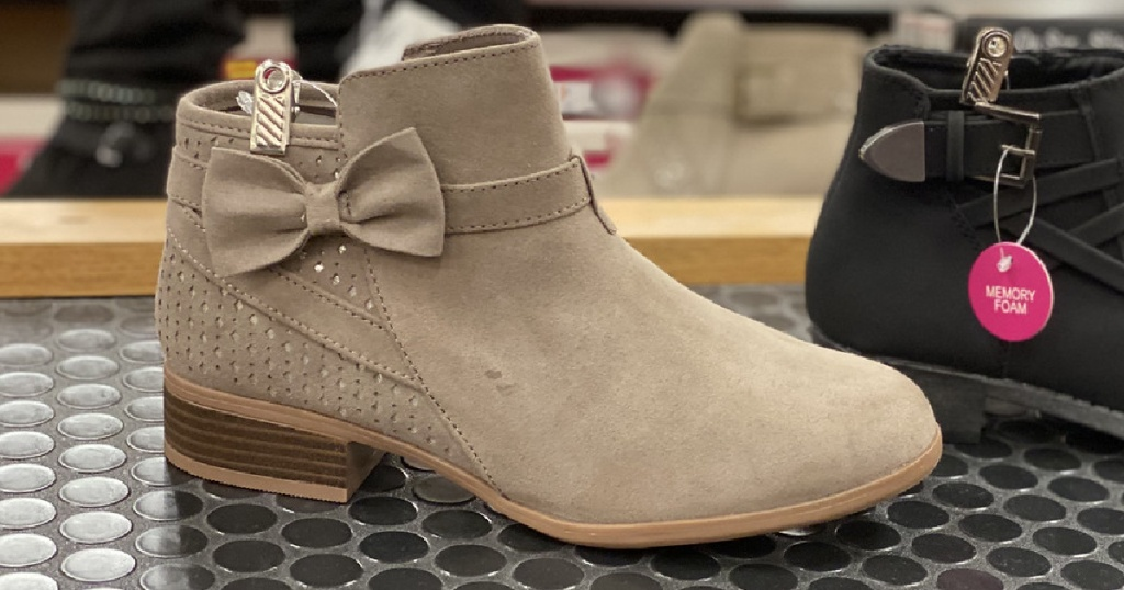 taupe short boot with bow on it
