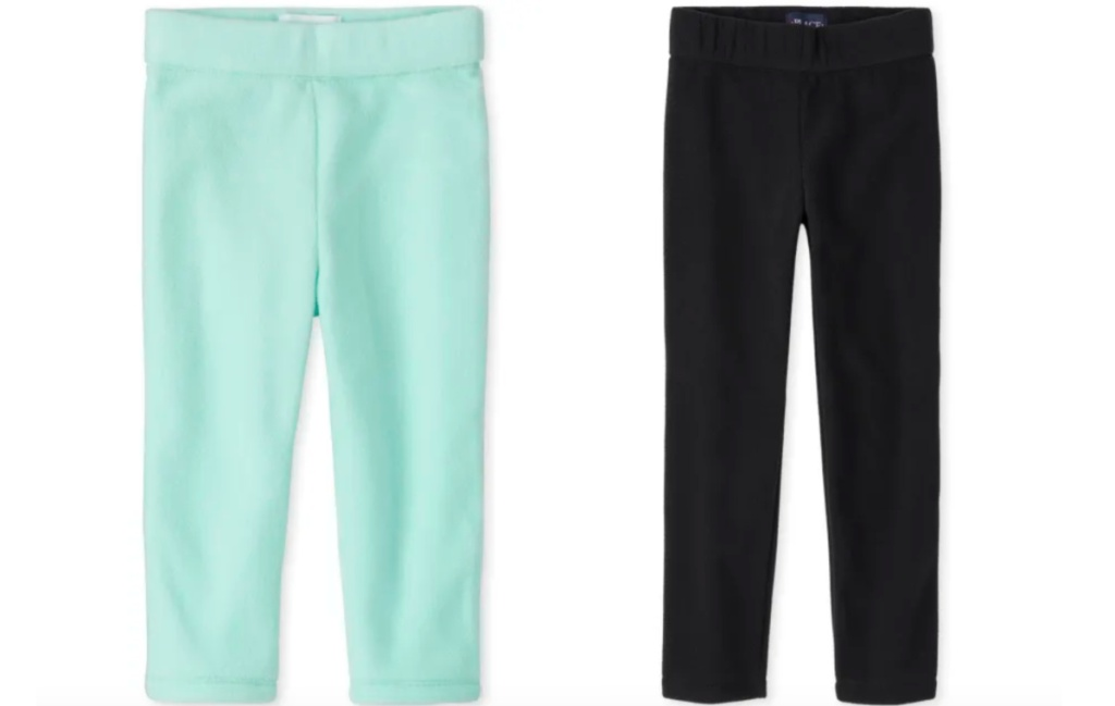 girls fleece pants teal and black