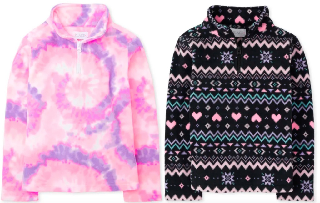 girls fleece pullover pink and fair aisle