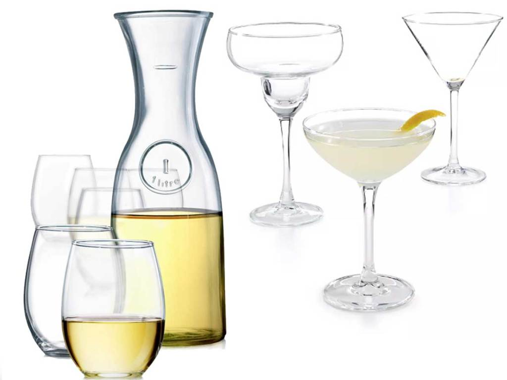 two sets of glassware
