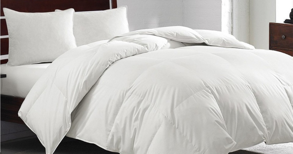 goose down comforter on bed