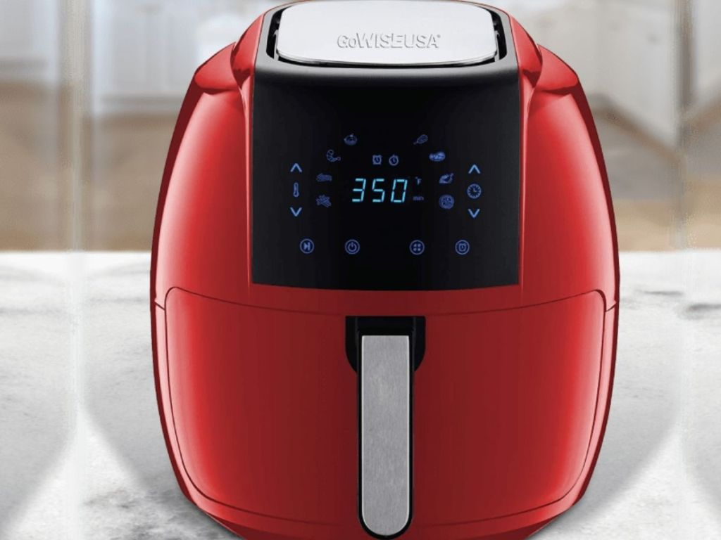 red air fryer on counter top