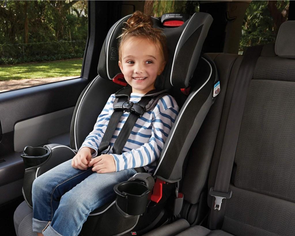little boy in graco 3in1 car seat
