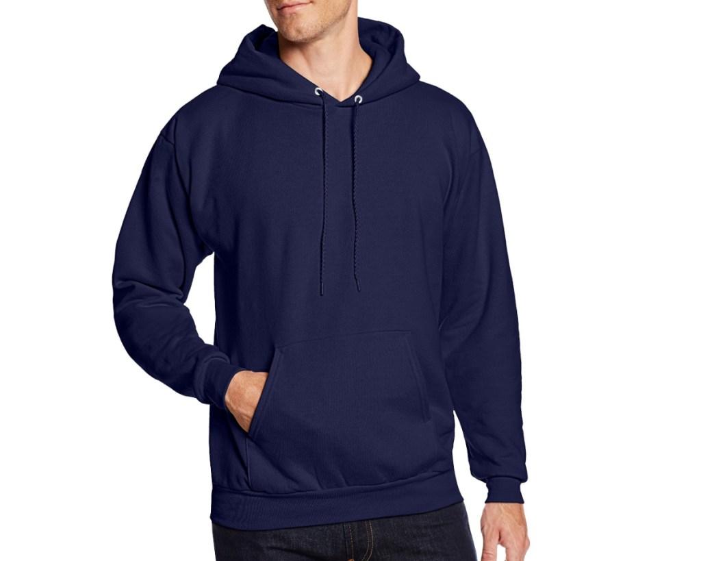hanes mens hooded sweatshirt in navy