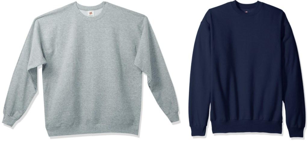 hanes mens sweatshirts in gray or navy